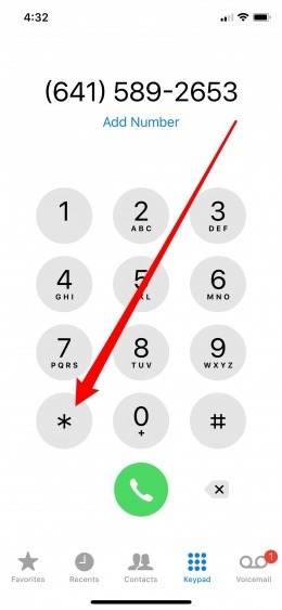 Dial extension on iPhone