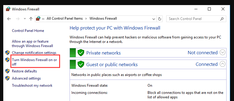 windows firewall control panel