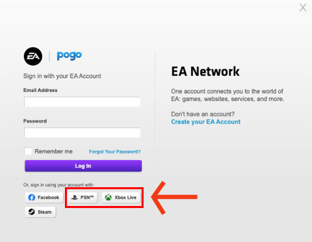 How to link ps4 account to ea