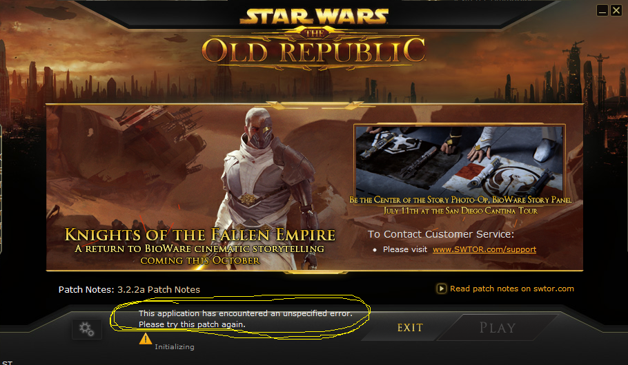 swtor this application has encountered an unspecified login error