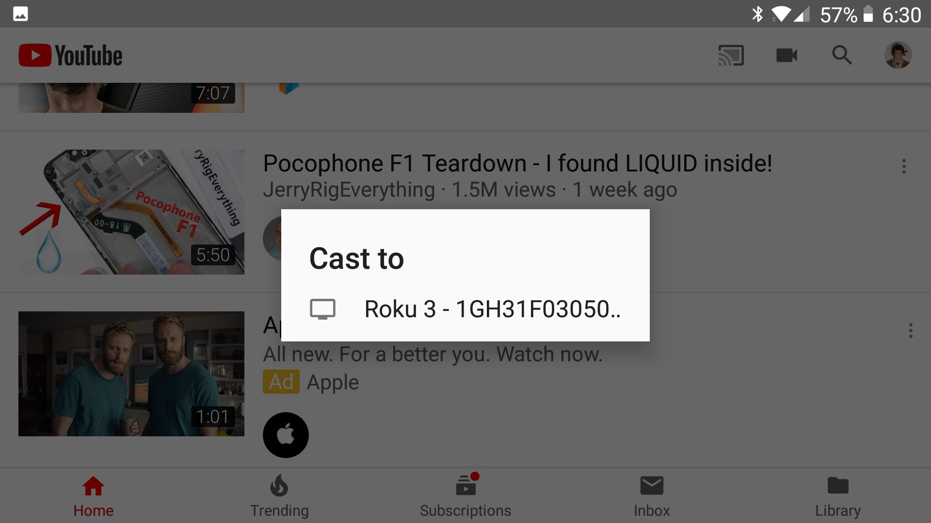 Youtube TV on roku device